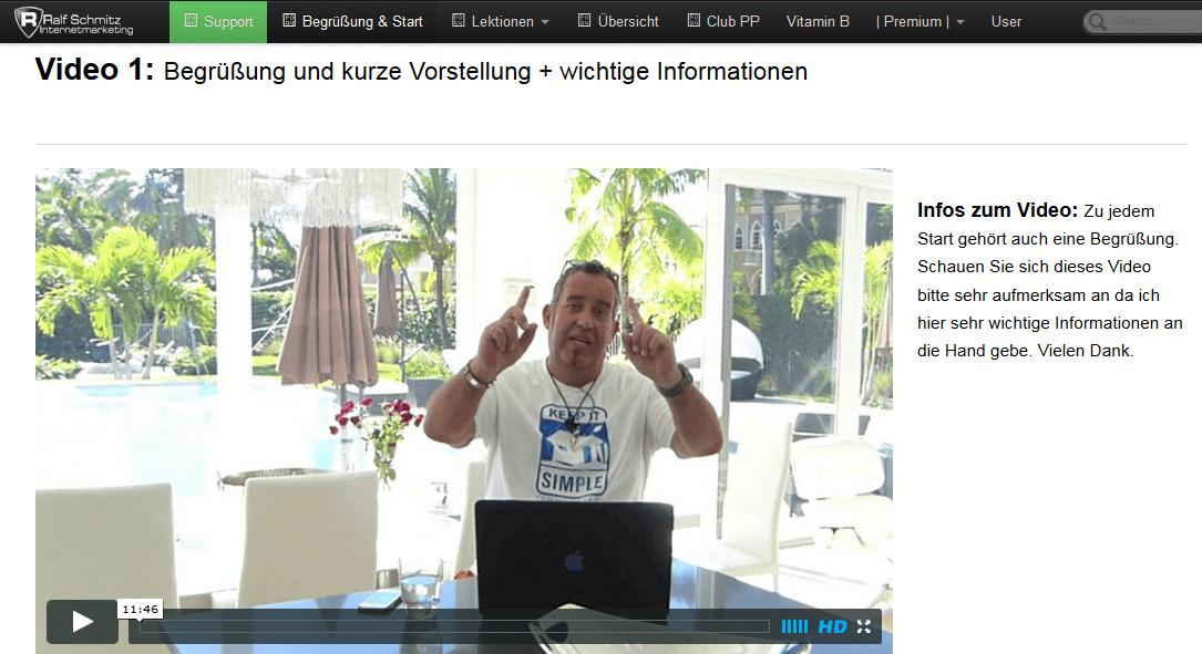Startfoto aus einem Video von Ralf Schmitz aus dem VIP Affiliate Club